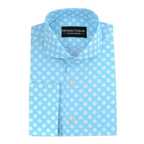 Modern Tailor D57 Aqua Blue White Dots Dress Shirts