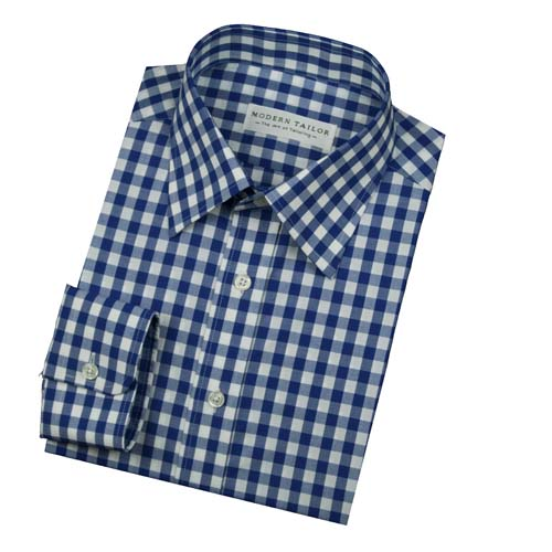 Modern Tailor R61743 01 Blue And White Check Dress Shirts