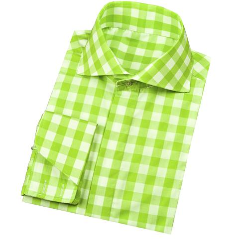 Modern tailor t288 apple green gingham dress shirts for Apple green dress shirt