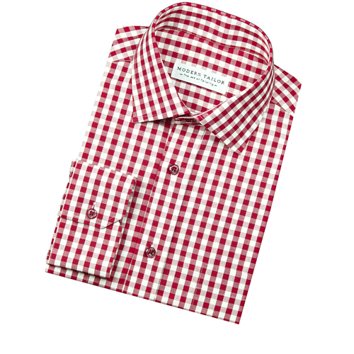 Modern tailor k318 red gingham dress shirts