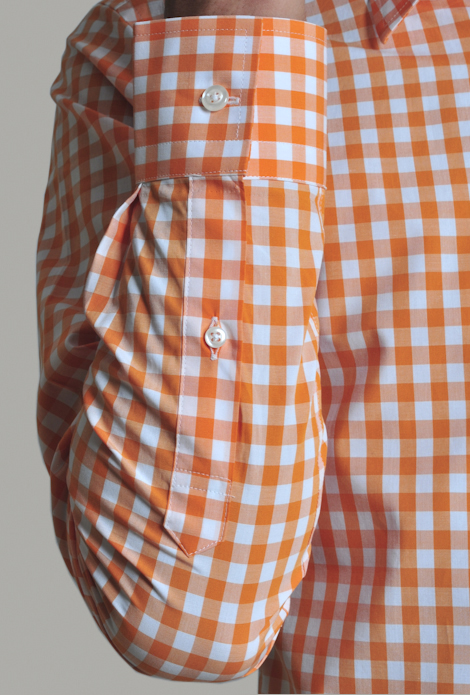 Modern Tailor D12036 Light Orange Gingham Dress Shirts