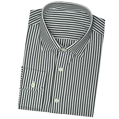 Modern Tailor | #CM0048BLK Black and White Stripe dress shirts