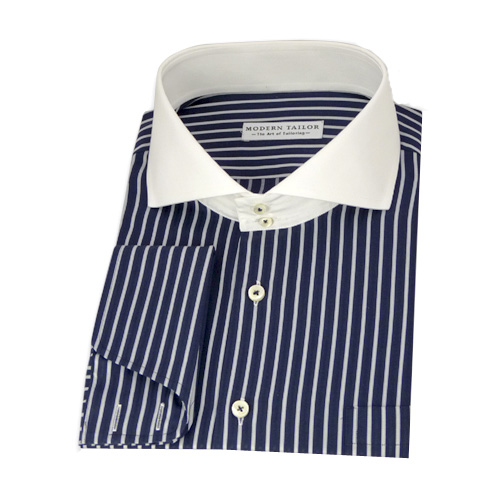 Modern Tailor | #P105 Navy blue, black and white stripes dress shirts