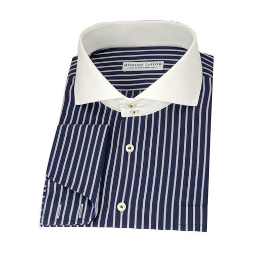 Modern Tailor | #P105 Navy blue, black and white stripes dress shirts