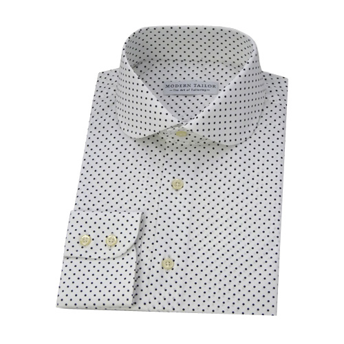 Modern Tailor | #PT1 White black dots dress shirts