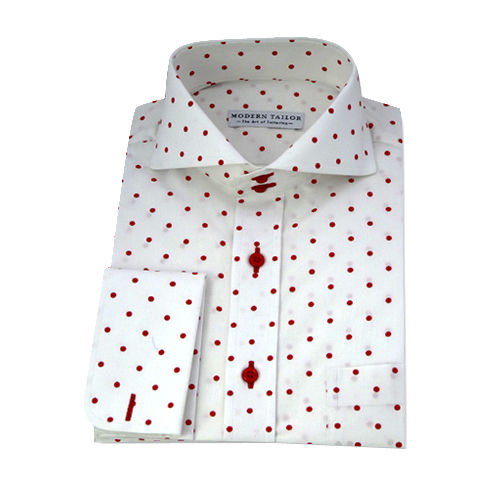 Modern Tailor | #D31 White red dots dress shirts
