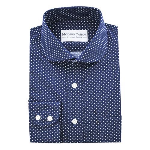 Modern Tailor | #D13 Blue white dots dress shirts